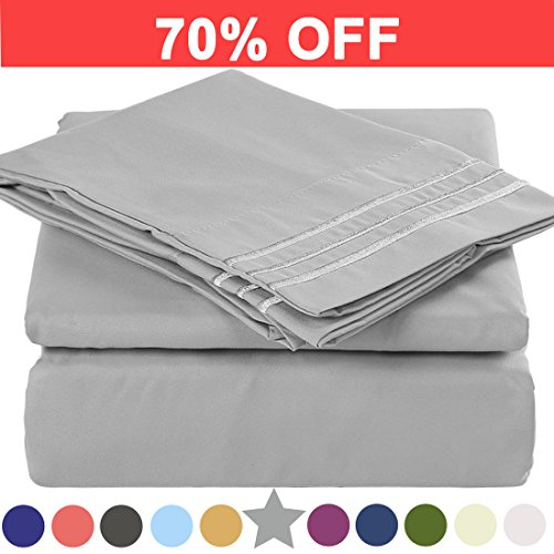 Microfiber Full Size Bed Sheet Set - Made Of 100% Brushed Microfiber Polyester 1800 Series - Extra Deep Pocket - Stain Resistant, Warm, Breathable And Hypoallergenic - 4 Piece (Grey) - TEKAMON (Blanket Size Anime Full)