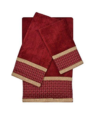 Sherry Kline Melrose Red 3 Piece Decorative Embellished Towel Set,Red (Embellished Towel Sets)