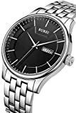 BUREI Men's Business Casual Wrist Watches with Day Date Calendar Black Dial Stainless Steel Band and Black Dial