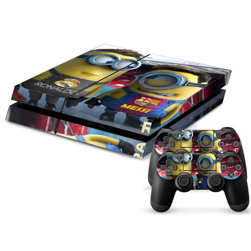 MightySticker® PS4 Designer Skin Game Console System + 2 Controller Decal Vinyl Protective Covers Stickers f Sony PlayStation 4 - Despicable Me 2 Funny Minions Stuart Dave Messi Ronaldo Overalls (Despicable Me Game Playstation)