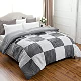 Black and White King Size Comforter Black and White King size 102x90 Bedding Comforter Chessboard Pattern Down Alternative with Pleat Surface and Grey Reverse Side by Bedsure