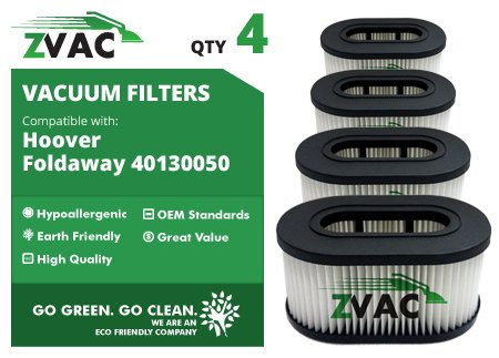 4 Hoover TurboPower 3100 HEPA Filter Generic Part By ZVac. Replaces Part Numbers 43615-090, 40130050, 43615090, F924 Fits: U5172-900, U5171 900, U5363, U5162 900, UH40155, UH40185, U5175-900, U5172.