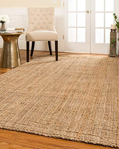 Natural Area Rugs Handmade Chunky Calvin Jute Rug 5 x 8 , 100 High Quality Natural Jute, Heavier and Thicker than other Jute Rugs, Reversible for Twice the Wear, Beige