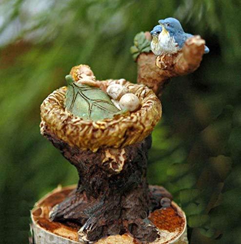 (Miniature Fairy Garden Sleeping Baby Fairy in Bluebird Nest)