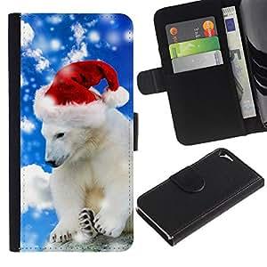 """Be-Star la tarjeta de CršŠdito Slots PU Funda de cuero Monedero caso cubierta de piel Para Apple iPhone 5 / iPhone 5S ( Oso polar del invierno del sombrero de Santa de la nieve de Navidad"""" )"""