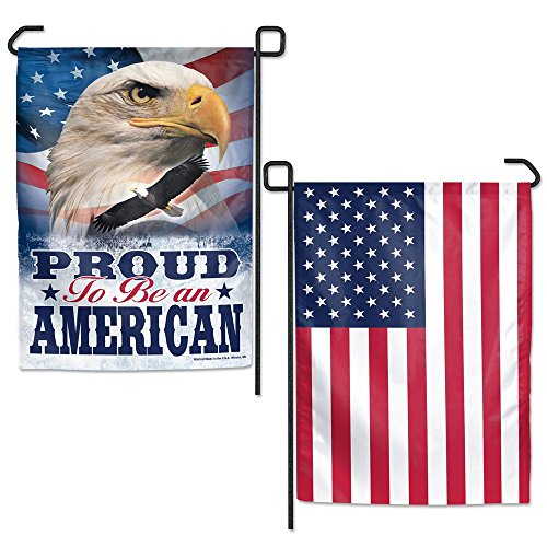 WinCraft Proud To Be American Garden Flag 2 Sided TWO Designs Patriotic Bald Eagle -