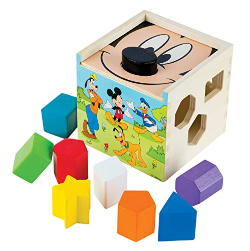 Melissa & Doug Mickey Mouse & Friends Wooden Shape Sorting Cube Baby Toy -
