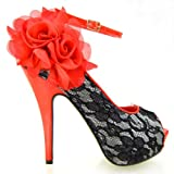 Show Story New Red Black Lace Peep Toe Flowers Platform Shoes,LF30408RD41,9.5US,Red