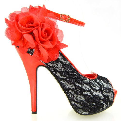 SHOW STORY New Red Black Lace Peep Toe Flowers Platform Shoes,LF30408RD38,7US,Red