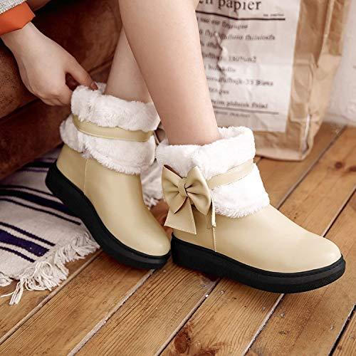De Botas Gruesas Invierno Cálidas Zapatos Zh Algodón Uso Algodón Mujer Beige Doble Nieve Estudiantes Para UqwRC5