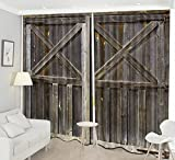LB 2 Panels Rustic Home Décor Room Darkening Blackout Curtains,Vintage Style Wooden Door 3D Effect Print Window Treatment Curtains Living Room Bedroom Window Drapes,104 x 84 Inches