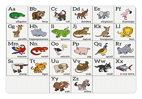 Ambesonne Educational Pet Mat for Food and Water, Alphabet Learning Chart with Cartoon Animals Names Letters Upper and Lowercase, Rectangle Non-Slip Rubber Mat for Dogs and Cats, Multicolor ()