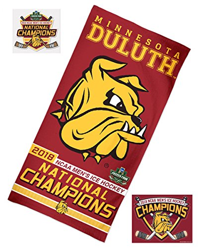 WinCraft Minnesota Duluth Bulldogs 2018 NCAA Men's Ice Hockey Champions Beach Towel and 2 Decal Triple Combo Pack (Div Decal)