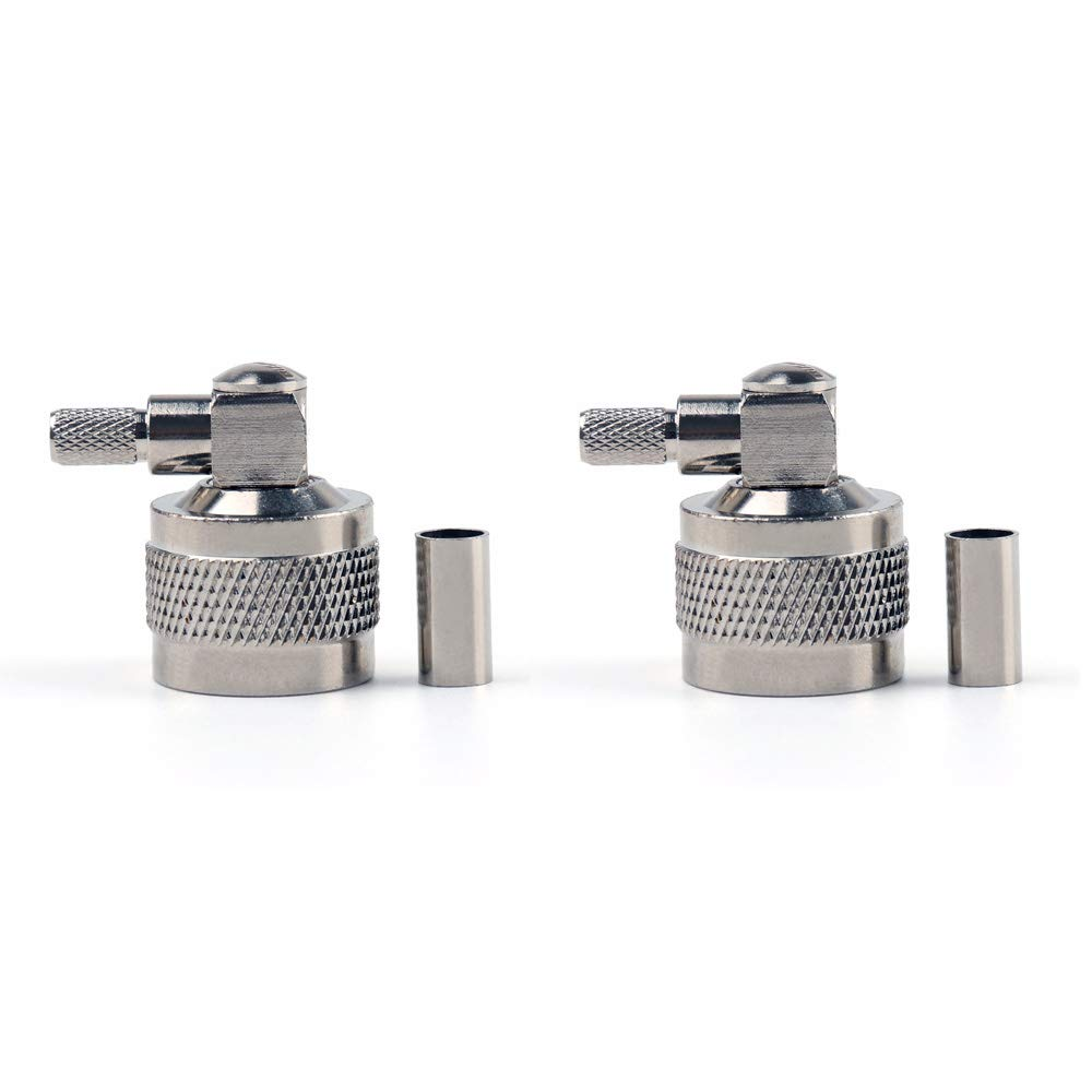 N Male Right Angle Crimp Connectors,ANHAN N Adapters 90 Degree to Coax Connectors Adapters RG58 LMR400 Coaxial Cable Connector 2Packs
