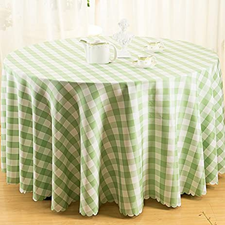 Ammybeddings 70 Inch Round Tablecloths,Classic Green And White Checkered Table  Cloths,Polyester,