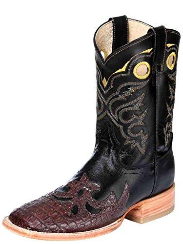 Bota Rodeo Exotico/a ID 31012 El General (BRE) Puntera Caiman/Aisha Negro/Cigar (9) (Cowgirl Boots Stingray)