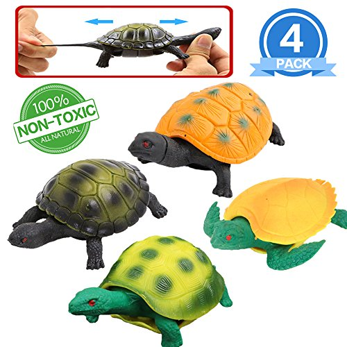 Turtle Toys,5 Inch Rubber Tortoise Turtle Sets(4 Pack),Great Safety Material TPR Super Stretchy,Can Hide in Shell,Zoo World Sea Ocean Animal Bathtub Bath Pool Toy Party Favors Boys Kids ()