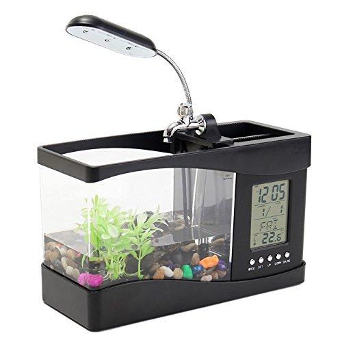 importados Mini USB tanque de peces acuario Pen Hogar reloj de tiempo calendario LED lámpara de mesa pequeña multi-functions fiable calidad: Amazon.es: ...