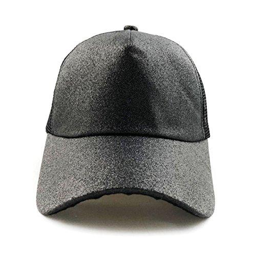 2018 Ponycap Messy High Bun Ponytail Hat Adjustable Glitter Mesh Trucker Baseball Cap Hat for Women Men - Black by CoastaCloud (Image #1)