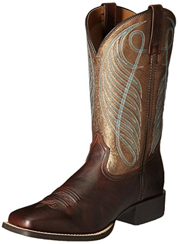 Ariat Women's Round Up Wide Square Toe Western Cowboy Boot, Yukon Brown/Bronze, 8.5 M US