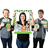 Big Dot of Happiness Jungle Party Animals - Safari Zoo Animal Birthday Party or Baby Shower Selfie Photo Booth Picture Frame & Props - Printed on Sturdy Material