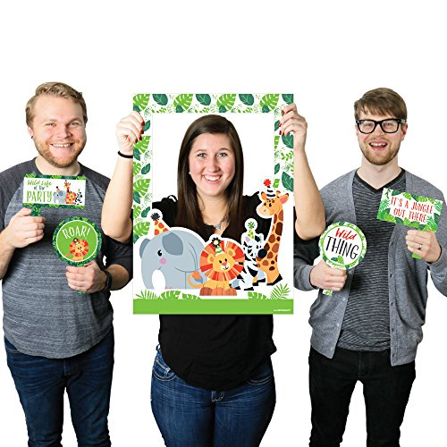 Jungle Party Animals - Safari Zoo Animal Birthday Party or Baby Shower Photo Booth Picture Frame & Props - Printed on Sturdy Material