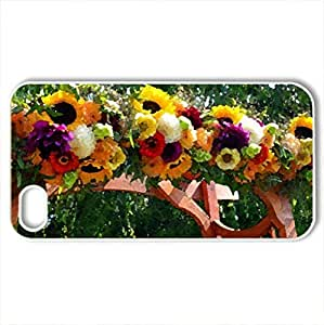 Awesome gate - Case Cover for iPhone 4 and 4s (Flowers Series, Watercolor style, White)
