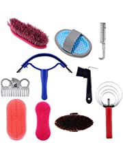 Horse Cleaning Tool, Curry Comb, Horse Grooming Care Kit, 10Pcs Horse Cleaning Tool Set, Horse Brushes, Horse Accessory, for Beginners Horse Riders