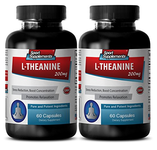 L theanine 400mg - L Theanine 200mg - Alleviation of anxiety (2 Bottles - 120 Capsules)