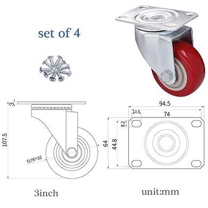 Prime Amazon Com Casters 4 Castors Wheels With Screws 200Kg Heavy Pabps2019 Chair Design Images Pabps2019Com