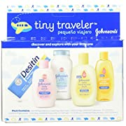 Johnson's Tiny Traveler, Baby Bath And Baby Skin Care Products, Travel Gift Set, 5 Items (Pack of 3)