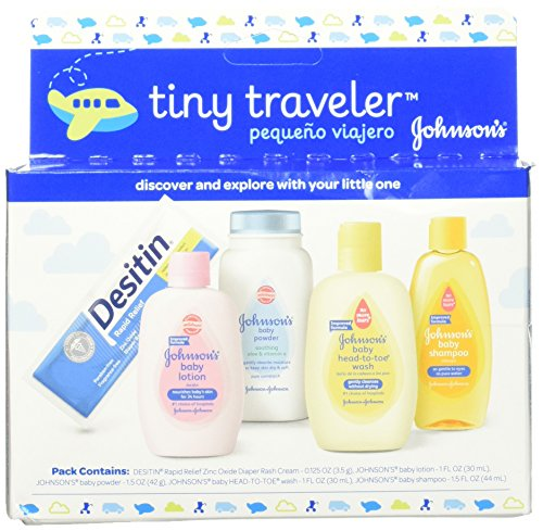 Johnson's Tiny Traveler, Baby Bath And Baby Skin Care Products, Travel Gift Set, 5 Items (Pack of 3) (Along Pack Take)