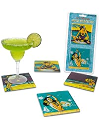 Buy Hawaiian Hula Girl Glass Coasters - Set of 4 deliver