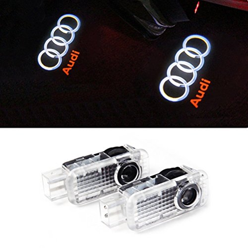 [Aukur 2PCS Logo Projector Step Door Under Puddle Lights For Audi A4 A3 A6 Q7 Q5 A1 A5 TT A8 Q3 A7 R8 RS] (Audi A4 Lights)