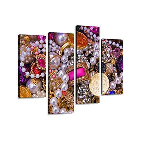 Close-up of Different Types of jewelsCanvas Wall Art Hanging Paintings Modern Artwork Abstract Picture Prints Home Decoration Gift Unique Designed Framed 4 Panel
