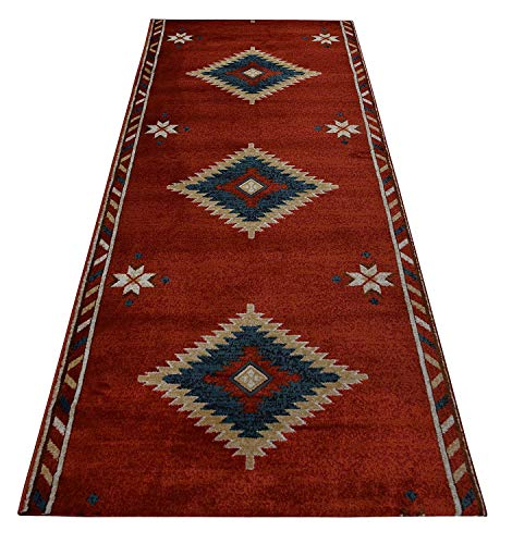 36 Collection American (RugStylesOnline Custom Runner Southwestern Native American Design Runner Rug 36 inch Wide x Your Length Size Choice Nevita Collection Roll Runner (Orange, 7 ft x 36 in))