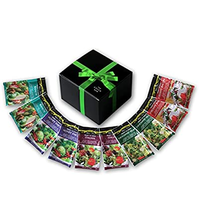 Walden Farms Calorie Free Dressing 10 x 1 oz - Assortment Healthy Salad Sauces - 2 in every Flavor of Ranch, Italian, Creamy Bacon, Thousand Island, and Honey Dijon   Carb-Free Food with Gift Box