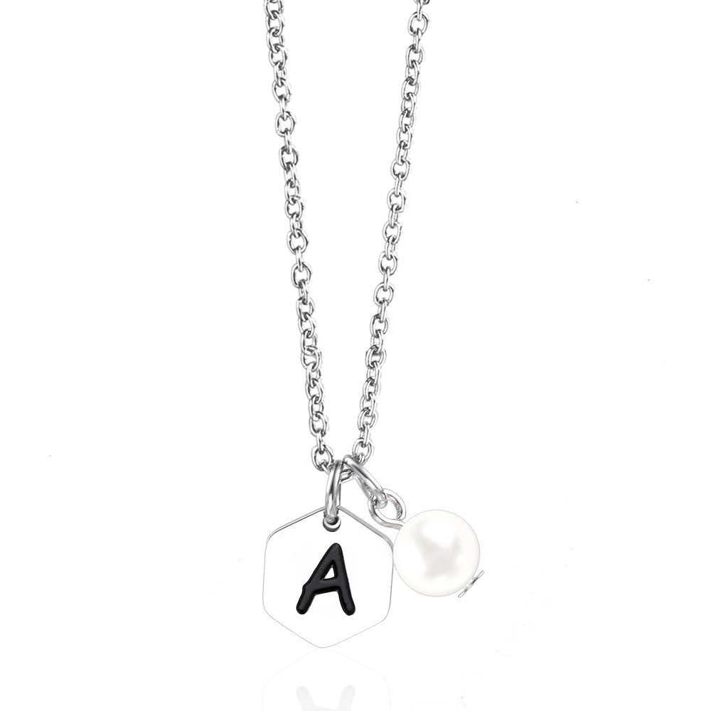 a6ac1b5b9f405 Amazon.com: Anlive Personalized Hexagon Initial Necklace with Pearl ...