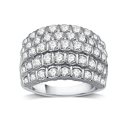 DeCarat 2 CT.T.W. Diamond Setrling Silver Channel-Set Multi-Row Ring