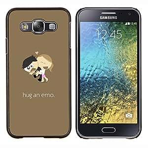For Samsung Galaxy E5 E500 Case , Divertido Abrazo Un emotivo- Diseño Patrón Teléfono Caso Cubierta Case Bumper Duro Protección Case Cover Funda