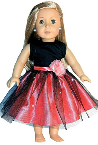 [Fits 18 inch American Girl Dolls | Pink and Black Princess Ballet Dance Dress | Doll Dress Clothes Outfit Tenney] (Figure Skating Halloween Costumes)