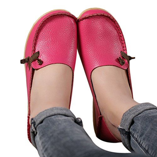Lucksender Womens Soft Leather Comfort Driving Loafers Shoes 8B(M)US Hot Pink