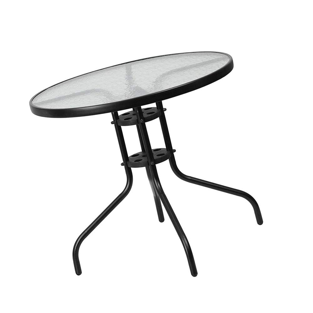 jn.widetrade Round Outdoor Bistro Table Metal Steel Frame with Glass Table Top for Backyard Swimming Pool Side Decor Small Patio & e-Book