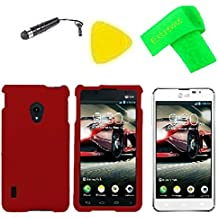 Hard Cover Case Cell Phone Accessory + LCD Screen Protector Guard + Extreme Band + Stylus Pen + Pry Tool For LG Optimus F5 AS870 / Lucid 2 VS870 (Red)