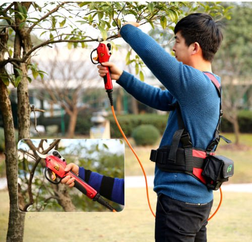 ELEOPTION 220V Rechargeable Electric Pruner Garden and Pruning Shear Snips, Garden Grafting Pruner Cutting Kit for Fruit Tree