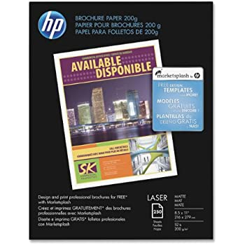 Amazon Com Hp Brochure Inkjet Paper 8 5x11 Matte 150