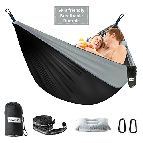"Parachute Nylon Travel Hammock - HODGSON Camping Hammock XL Double Hammock with Heavy Duty 14 Loops Tree Straps & Air Pillow, Portable Parachute Nylon Hammock for Backpacking, Travel, 118"" x 78"" (Black)"