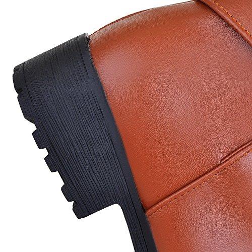 AllhqFashion Mujeres Material Suave Puntera Redonda Sólido Caña Media Mini Tacón Botas Marrón