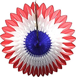 product image for 3-Pack 20 Inch Tissue Paper Flower Fan Decoration (Red/White/Blue)