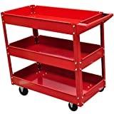 Anself 220 lbs Mobile 3 Shelf Adjustable Storage Utility Cart Workshop Tool Trolley with 4 Casters Red